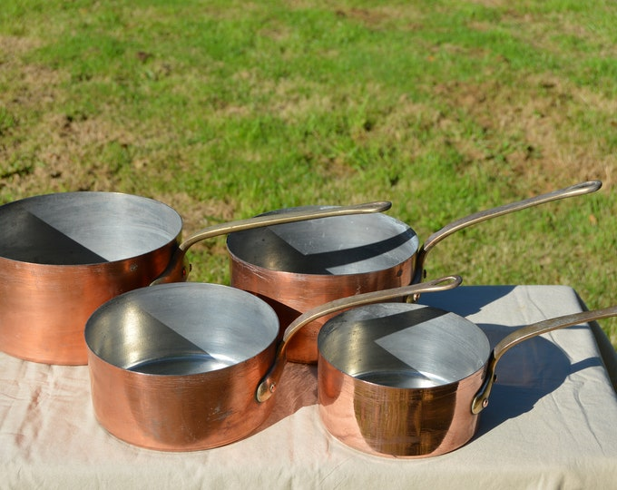 Set of Four Copper Pans Lecellier of Villedieu Solid Copper Pans TIn Lining Bronze Handles Sold as Seen Quality Copper Direct from France