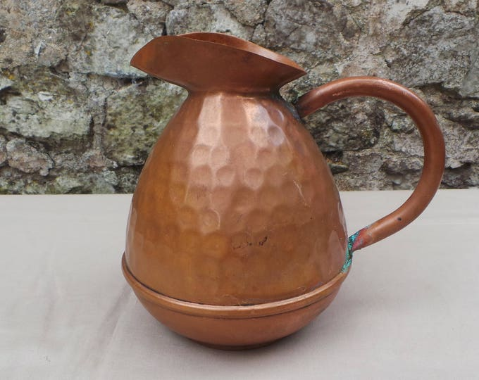 Antique French Solid Copper Water Copper Jug Copper Pitcher Hammered Dented All Copper Antique Authentic French Copper From France