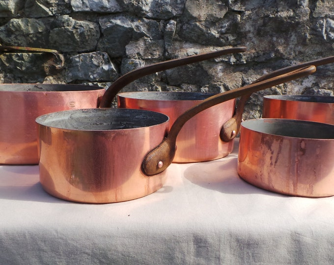French Quality Havard of Villedieu Vintage Graduated Copper Saucepans 1.5mm Unrefurbished Missing Tin Scratches Direct From France