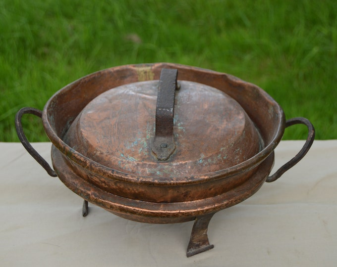 """Copper Tourtiere Au Gratin Pan Pie Dish with Legs Copper Roasting Dish Big Handle 24 cm 91/2"""" Quality French Copper Direct From France"""