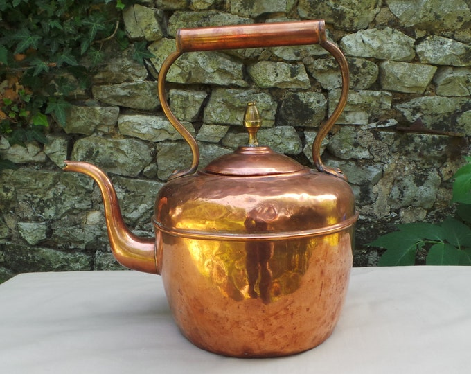 Copper Kettle French Made Bouloire Antique Copper Black Interior Well Used Wooden Handle Thick Brass Mounts Brass Fineal