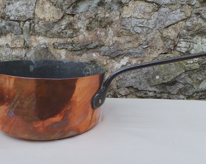 Antique Copper Pan Saucepan Saute Pan Unrestored Sold As Found Unrefurbished Well Used Rounded Base Antique 1800's Artisan Made Museum Piece