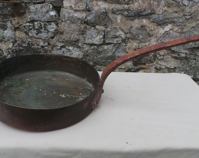 """Vintage 1.2mm Copper Pan Saute Pan 28cm 11"""" Unrestored Well Used Tin Lined Copper Direct From France Quality Sauteuse"""