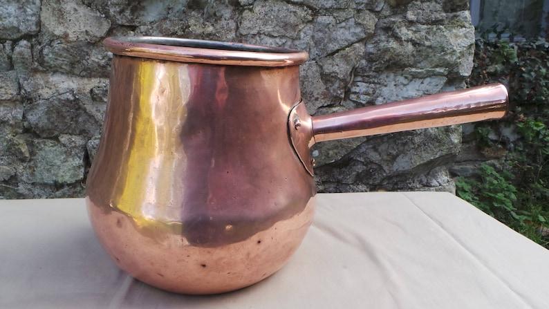 Antieke GROTE KOPER Kokende Pot Gietijzeren Ring Koper pot True Antieke Patina ongepolijste ongerestaureerde koper direct van Frankrijk Koper handvat