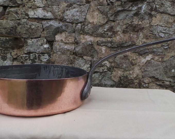 "Antique Copper Pan 1.8mm Copper Saute Iron Handle 24cm 9 1/2"" Unrestored Very Dark Tin Sauteuse Copper Direct From France"