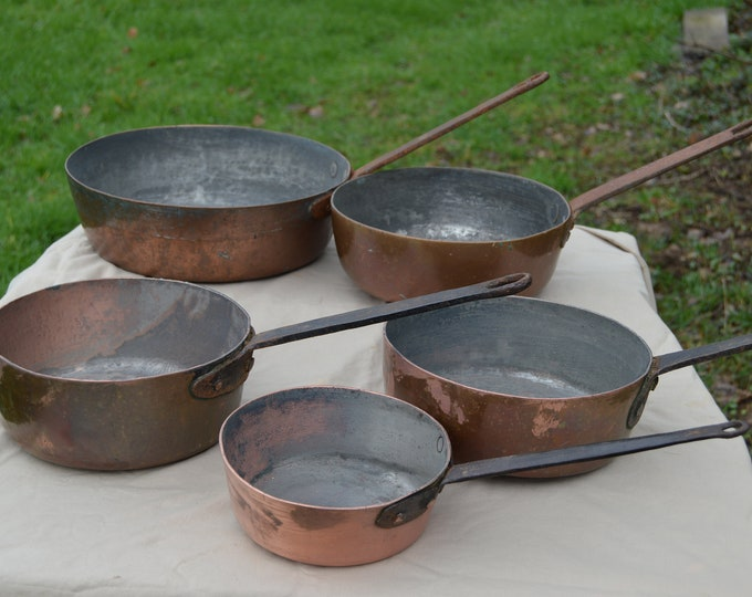 Five Copper Saute Pans 1.5-3mm Antique Museum Pieces Copper Pans Unrestored Unrefurbished Unpolished Well Used Missing Tin Rounded Bases