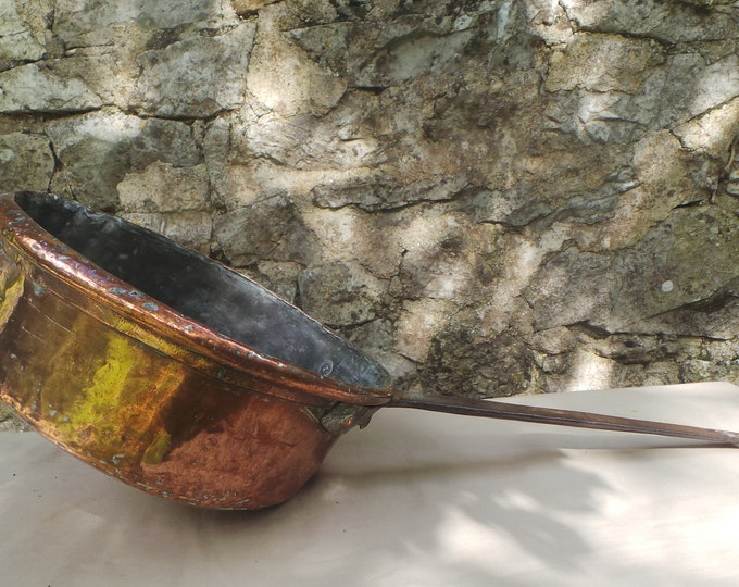 "Antique Copper Saucepan Ancient Pan Saute Copper Pan 28cm 11"" Unrestored Seasoned Tin Copper Sauteuse Quality Copper Direct From France"