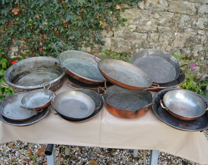 Job Lot 14 Copper Gratin Pans Oven Dishes Copper Pans Unrestored Sold As Found Unrefurbished Unpolished Well Used Scratches Missing Handles