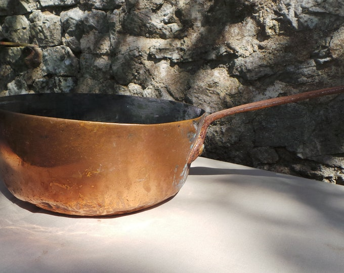 Antique Copper Pan Saucepan Saute Pan Unrestored Sold As Found Unrefurbished Well 2.4mm 20cm Antique 1800's Artisan Made Museum Piece