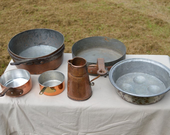 Job Lot Old Restaurant 2 Ancient Pans 2 Modern I Pitcher 1 Apple Pan Unrestored Sold As Found Dents Quality Copper DIrect from France