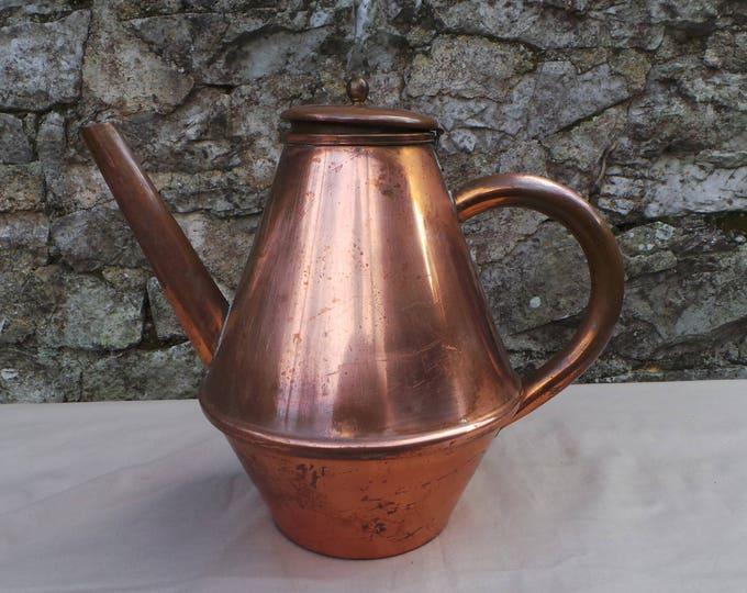 Kettle Coffee Pot Pitcher Jug Vintage French Decorative Dark Interior Jug Pitcher Coquemar Teapot Copper Pot Lid Bent