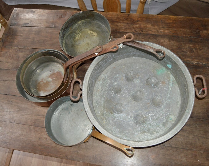 Reserved E Set 1  Massive Antique Copper Pan and 5 Sautes CA 58 nd CA 359 Unrenovated, As Found Copper Pans