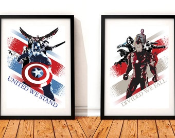 Captain America Civil War Set Of 2 A3 Prints