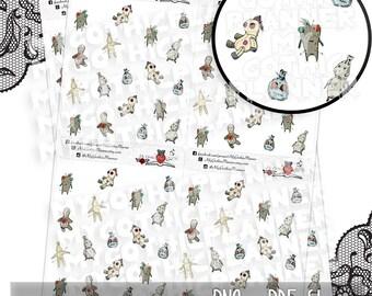 PRINTABLE Voodoo dolls stickers, planner stickers, scrapbooking stickers