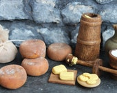 Butter churn, 12th scale Medieval Tudor Pioneer Rustic dolls house dairy parlour. Dolls house miniature food cheese butter. One inch scale