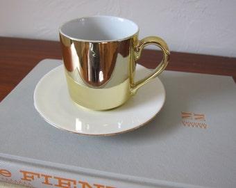 Vintage Gold Tea Cup and Gold Trim Saucer Metallic