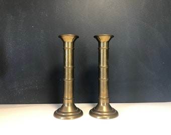 Vintage Brass Candlestick Holders Heavy Tubular Nautical