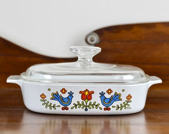 Vintage Corning Ware 1.5 Quart Casserole with Lid Country Festival A-8-B