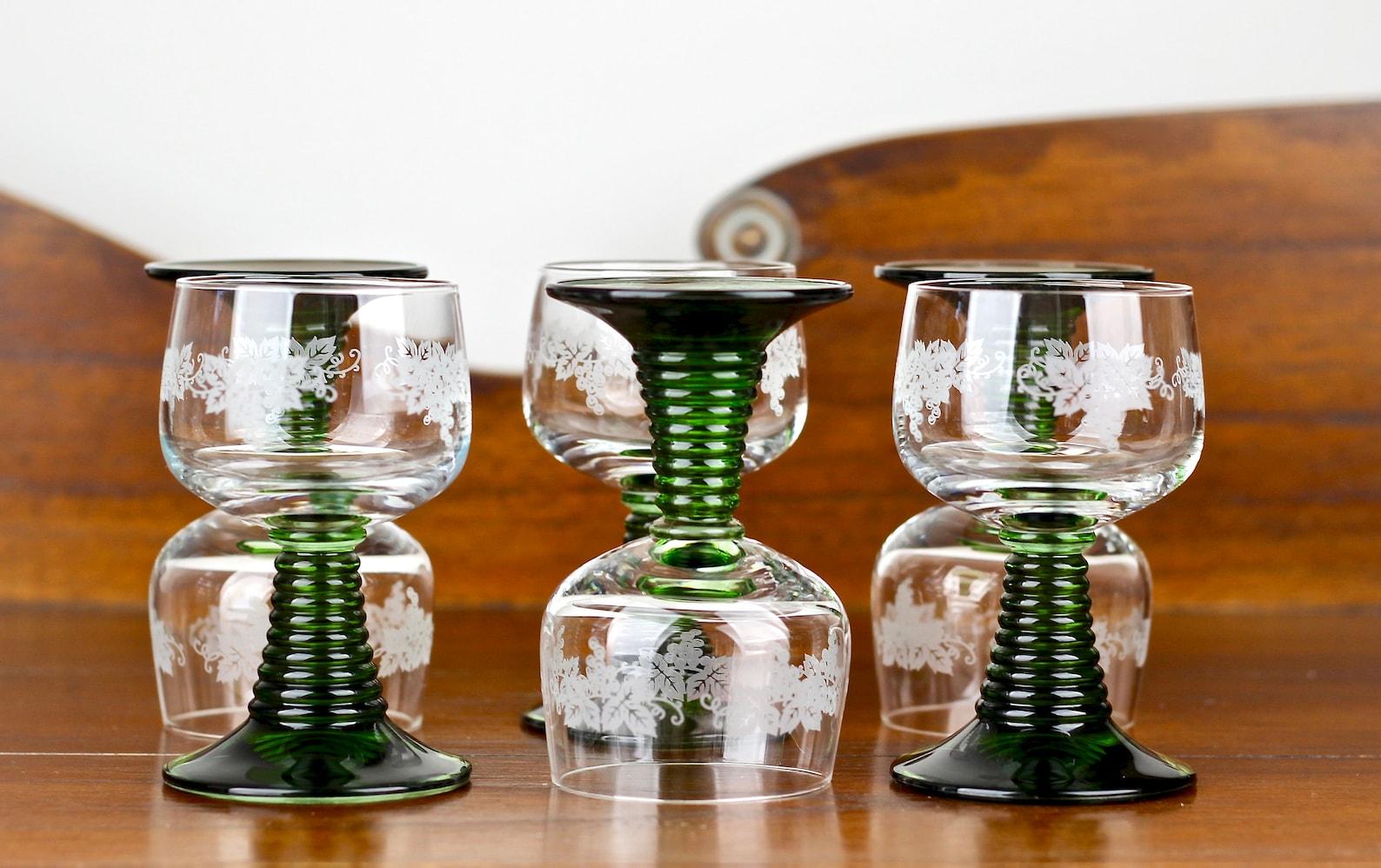 German Roemer Wine Glasses Green Stem Goblets Schott Zwiesel 4oz Set of 6