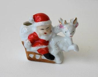 Vintage Santa on Sleigh with Reindeer Japan