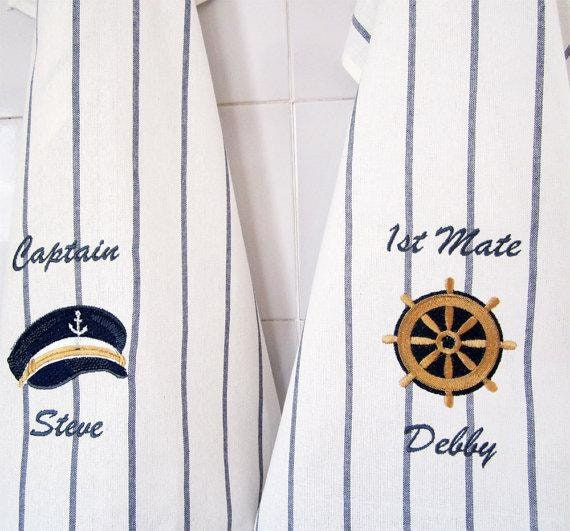 Nautical Tea Towels 2 Embroidered Towels Personalized