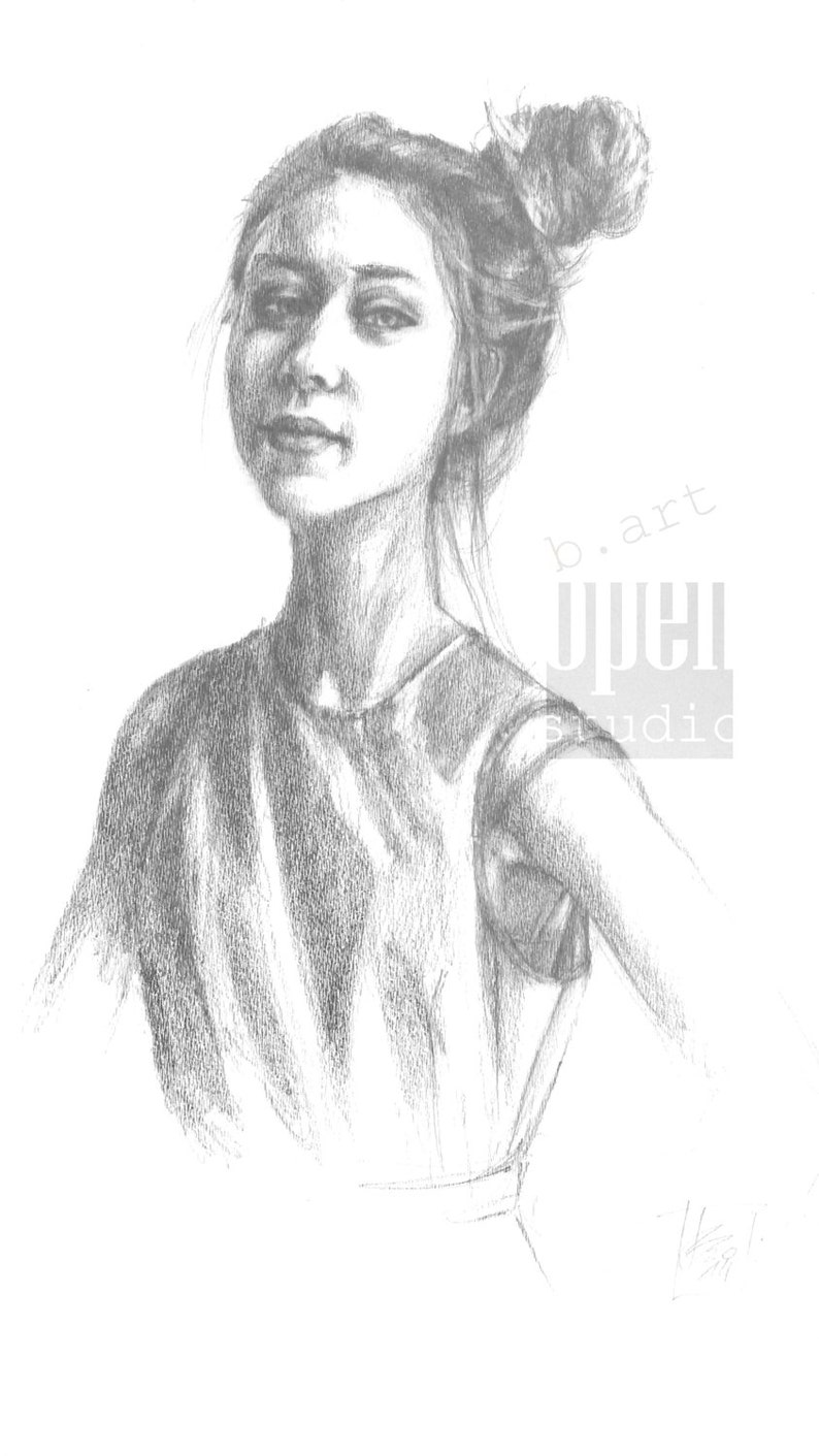 Pencil drawing on white paper original hand drawn study beautiful girl sketch study classic pencil drawing realistic portrait woman