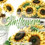 Watercolor Sunflower Clipart Clip Art Summer Sun Flower Wedding Invitation Illustration Vector Rustic Cottage Farm Decor Decoration Yellow