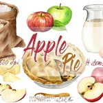 Watercolor Apple Pie Clipart Apple Cake Clip Art Illustration Decor Kitchen Decoration Wall Art Home Cookbook Clips Recipe Card Ingredients