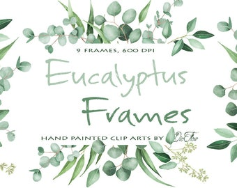 bb81a806ad08 Watercolor Eucalyptus Clipart Frame Greenery Frames Clip Art Eucalyptus  Greenery Baby Silver Dollar Leaf Green Leaves Illustration Vector