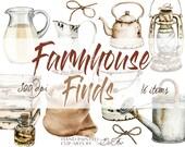 Watercolor Farmhouse Country Farm Clipart Cottage Clip Art Illustration Vector Rustic Pitchers Vintage Cans Farm Accessories Home Decor