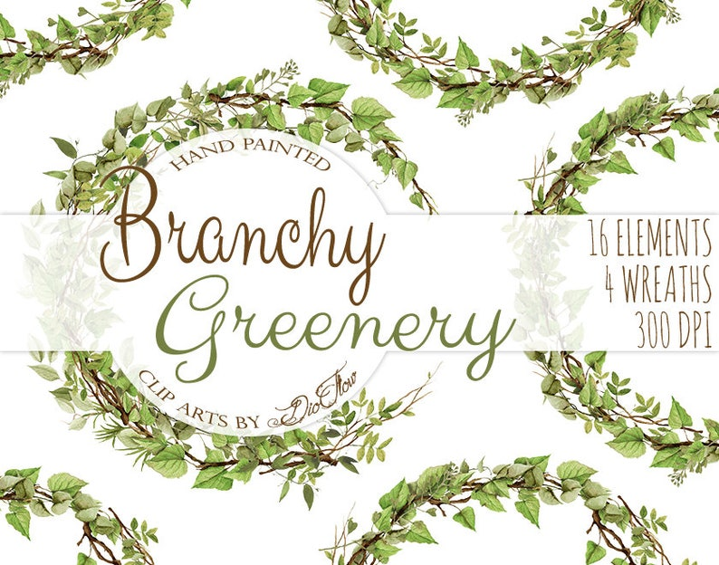 af8b382d2e82 Watercolor Greenery Clipart Leaves Branches Vines Woodland