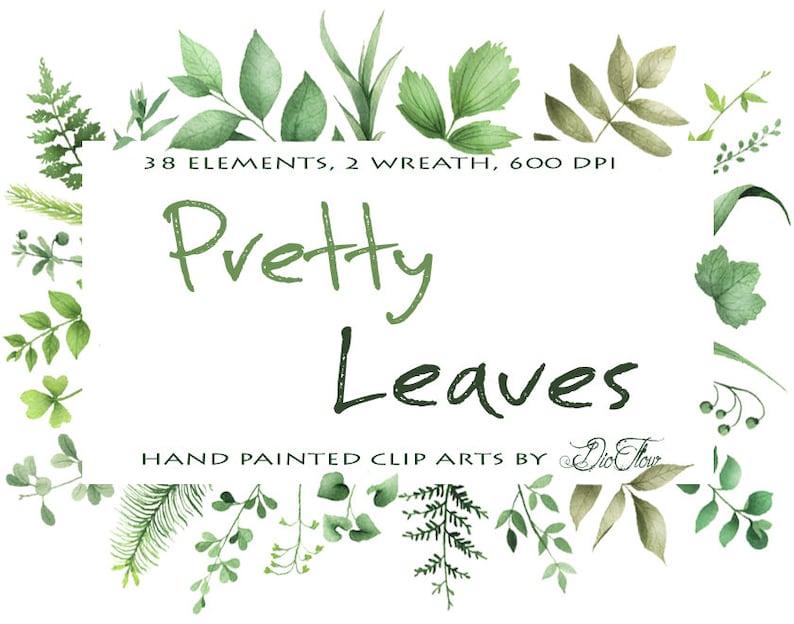 dda07e269bdc Greenery Clipart Leaf Leaves Woodland Vector Clip Art Green