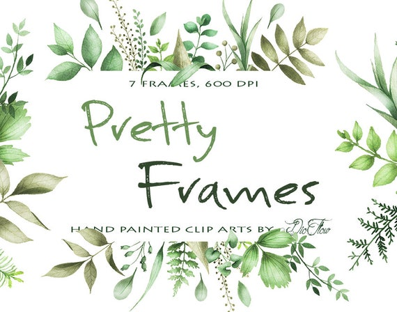 Watercolor Greenery Clipart Frame Leaf Leaves Clipart Vector | Etsy