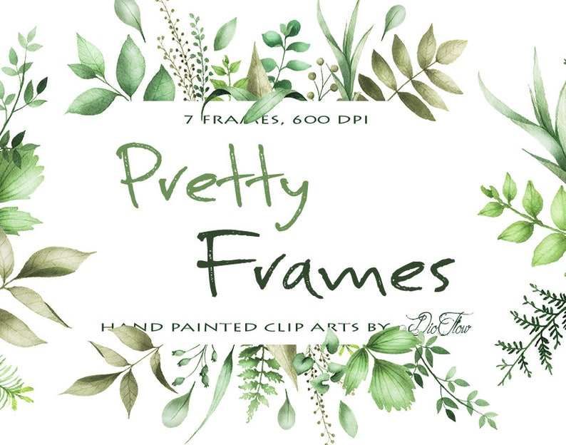 6ca57f9bb9a3 Watercolor Greenery Clipart Frame Leaf Leaves Clipart Vector