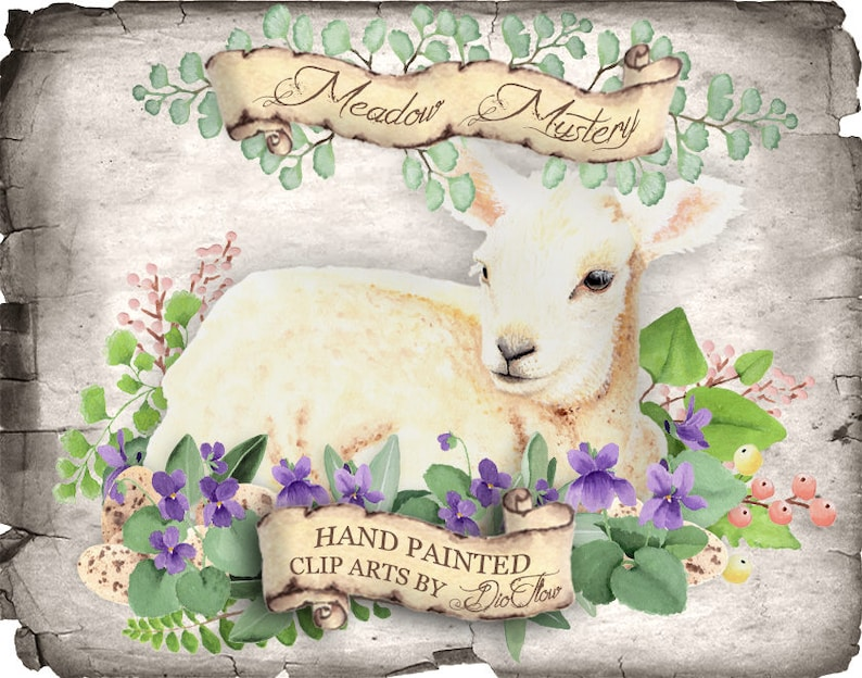 Easter Lamb Clipart Violet Clipart Woodland Sheep Greenery Easter Lamb  Clipart Leaves Violet Watercolor Clip Art Easter Eggs Forest Papyrus