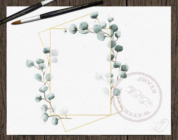 Watercolor Eucalyptus Geometric Clipart Frame Greenery Frames | Etsy