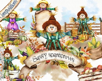 Watercolor Scarecrow Clipart Autumn Fall Clip Art Scarecrows Country Rustic Ranch Watercolor Clip Art Elements Illustration Country Design