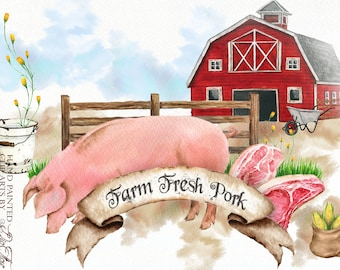 Watercolor Farm Pig Clipart Pork Products Clip Art Barn Meat Products Country Rustic Watercolor Clip Illustration Country Design Farmhouse