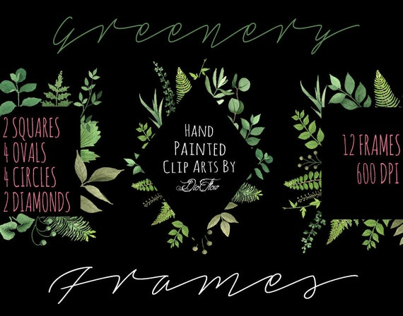 Watercolor Leaf Frame Greenery Frames Wreath Clipart Leaf Eucalyptus ...