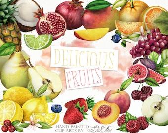 Watercolor Fruits Clipart Fruit Clip Art Fruity Illustration Decor Kitchen Wall Home Decoration Pomegranate Peach Mango Cocos Pear Berries