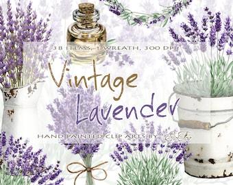 Watercolor Lavender Clipart Vintage Lavandula Clip Art Flower Purple Rustic Wedding Invitation Illustration Wreath Pitcher Bucket Oil Dried