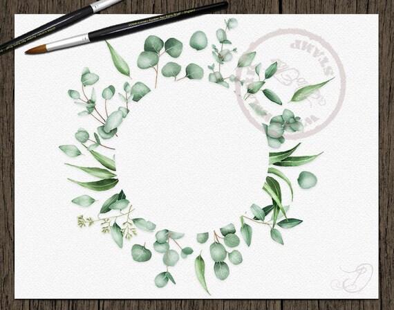 Watercolor Eucalyptus Clipart Frame Greenery Frames Clip Art | Etsy