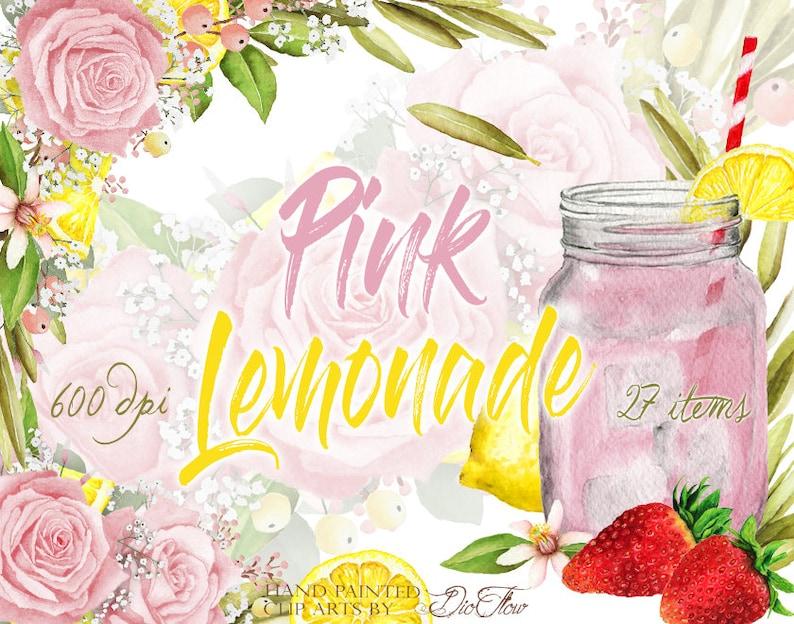 e98741079b52 Pink Rose Lemon Clipart Lemonade Strawberry Flowers Watercolor