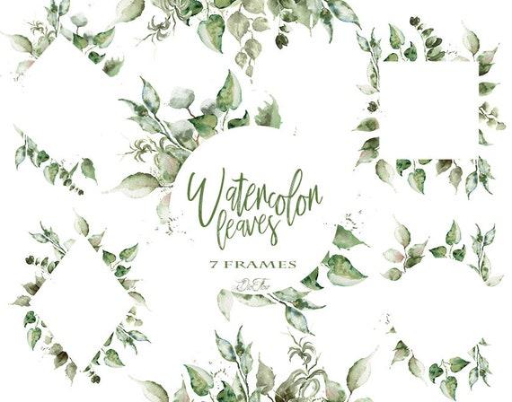 Watercolor Leaf Clipart Leaves Frame Greenery Frames Clip Art | Etsy