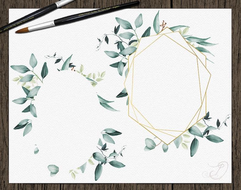 Watercolor Eucalyptus Clipart Frame Greenery Frames Clip Art Eucalyptus Greenery Baby Silver Dollar Leaf Green Leaves Illustration Geometric