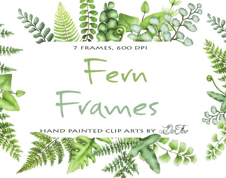 f6c854a2be88 Watercolor Fern Clipart Greenery Frames Clip Art Ferns Leaf