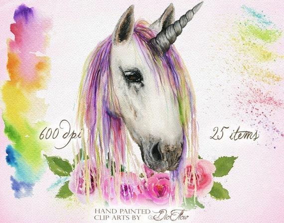 Watercolor nursery pregnant blue and purple unicorn clipart | Etsy