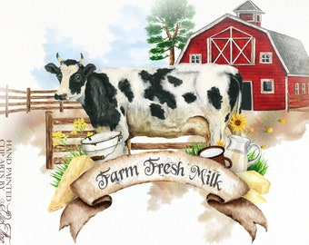Watercolor Farm Clipart Cow Milk Clip Art Barn Dairy Products Cow Country Rustic Watercolor Clip Illustration Country Design Farmhouse