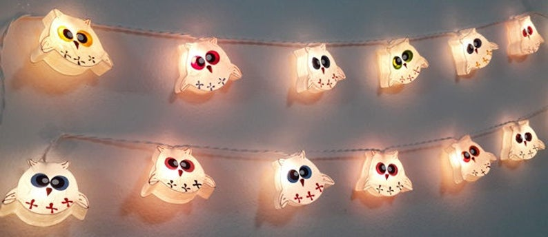 Garland String Lights Lovely White Owls Baby 20 Party Patio Fairy Decor  Mulberry Paper Kid Room Bed Room Living Room Gift