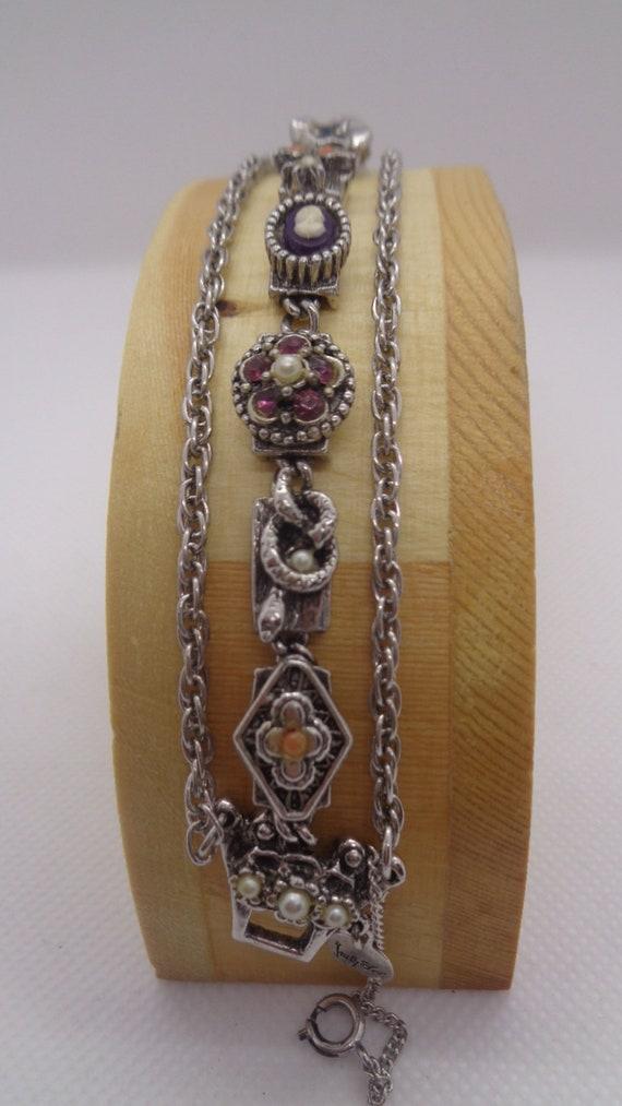 """Vintage Judy Lee Signed Charm 7"""" Bracelet"""